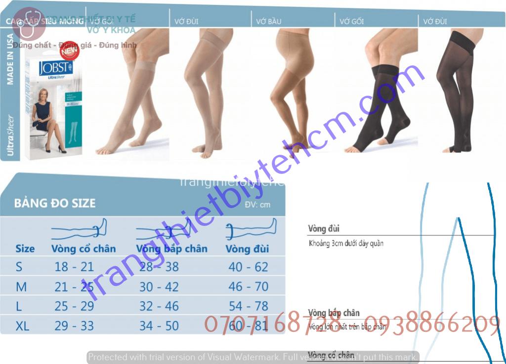 Tóm tắt thông tin sản phẩm vớ y khoa Jobst Ultrasheerer