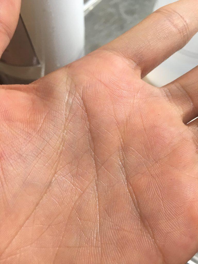 hình bàn tay sau khi thoa tay s