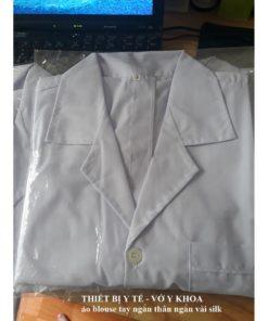 ao blouse tay ngan than ngan nam nu vai silk min dep