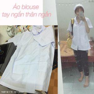 ao blouse tay ngắn thân ngắn